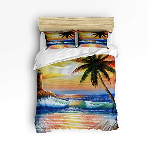 3 Piece Polyester Fabric Bedding Set with Zipper Closure Twin Size, Scenery Watchtower Sea Coconut Tree Comforter Cover Set Duvet Cover with 2 Pillow Shams for Girls/Boys/Kids/Children/Teen/Adults