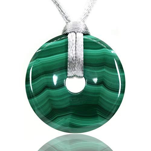 AMANDASTONES Natural Gemstones AA Grade Malachite Peace Donut 30M Beads Adjustable Braided Macrame Tassels Pendant - Necklace Malachite Onyx
