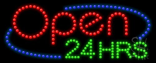 """Open 24 Hrs Animated Outdoor LED Sign 11"""" Tall x 27"""" Wide..."""
