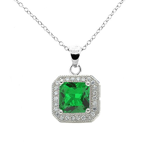 Cate & Chloe Londyn 18k White Gold Princess Green Emerald Gemstone CZ Halo Pendant Necklace - Silver Halo Cluster Necklace w/Solitaire Round Cut Gemstone - Wedding Anniversary Jewelry - MSRP - $150 Anniversary Green Pendant