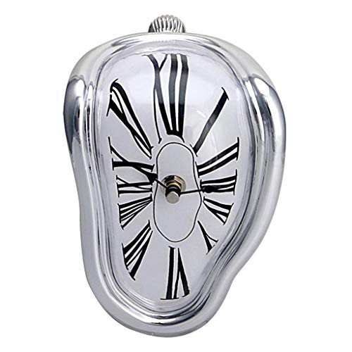 (SINLOOG Melting Clock Table Melting Time Flow Desk Clock, Decorative & Funny, Salvador Dali Inspired Twisted clock clock Home Furnishing fashion creative clock The best gift for Christmas)