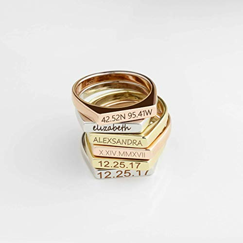 SAME DAY SHIPPING Before 12pm Custom Name Ring Personalized Signet Ring Roman Numeral Ring Custom Coordinates Ring Bar Ring Stacking Ring Stackable Ring Gift Women RSB-D