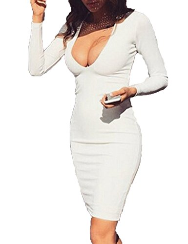 UZZDSS UD1295-White-S 2018 Winter Warm Fabric White Red Black Deep V-Neck Long Sleeve Sexy Bodycon Bandage Party Club Night Wear (Sexy Low Cut White Dress)
