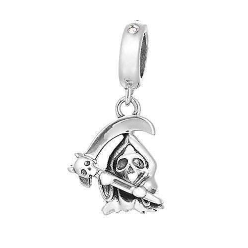 Paialco 925 Sterling Silver Grim Reaper Dangle Charm Fit European Bracelets & ()