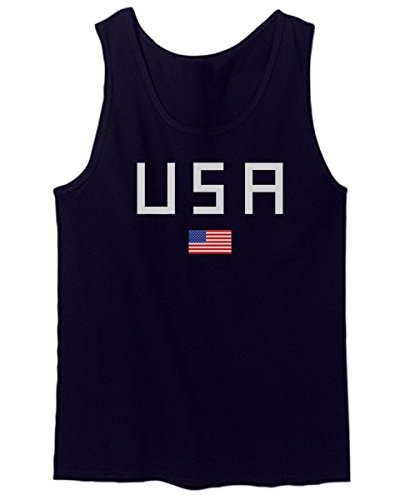 USA American Flag United States Of America Military Army Marine us Navy Men's Tank Top (Navy Blue, - Us Tank Top Flag
