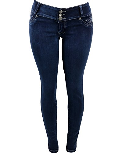 Tush Push - Women's Three Button Rhinestone Pocket Braided Push Up Skinny Jeans