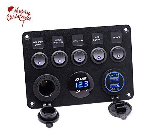 Gang Control (soyond Dual USB Socket Charger QC3.0&2.4A + LED Voltmeter + 12V Power Outlet + 5 Gang ON-Off Toggle Switch Multi-Functions Panel for Car Boat Marine RV Truck Camper Vehicles GPS Mobiles (Blue))