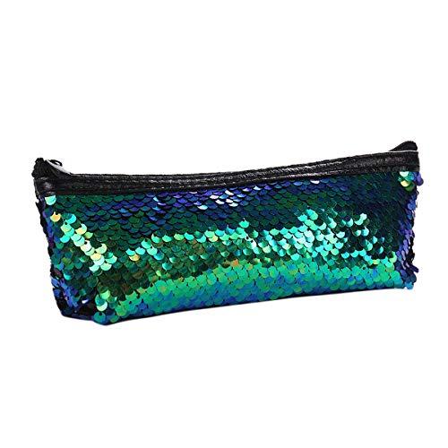 Women Sequin Cosmetic Bag, Fashion Makeup Case School Girls Pen Bag Pencil Case Travel Organizer (Color : Green+Black)