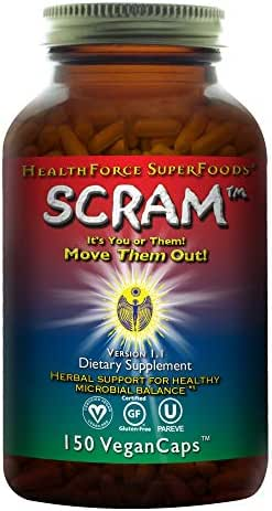HealthForce SuperFoods Scram - 150 Vegan Capsules - All Natural Internal Parasite Cleanse, Anti Fungal, Anti Yeast - Non GMO, Gluten Free - 15 Servings