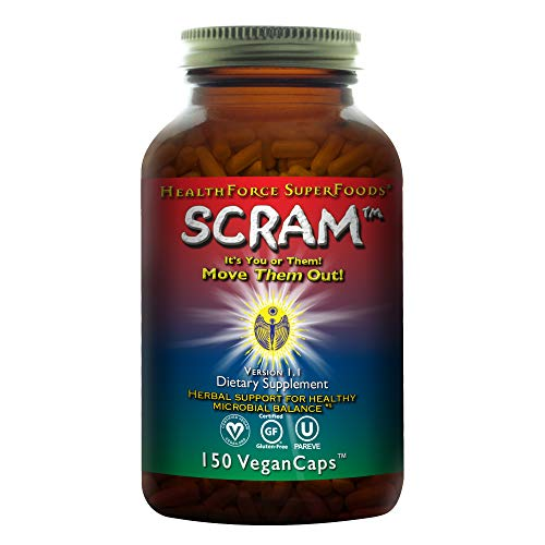 HealthForce SuperFoods Scram - 150 Vegan Capsules - All Natural Internal Parasite Cleanse, Anti Fungal, Anti Yeast - Non GMO, Gluten Free - 15 Servings (Best Parasite Zapper Reviews)