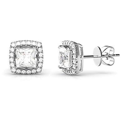 925 Sterling Silver Princess Cut CZ Cubic Zirconia Halo Earrings