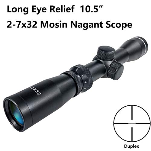 Shooney's Long Eye Relief 2-7x32 Duplex Reticle Scope Fits Mosin 1891/30 M39 LER Scope with Picatinny 1913 Ring Mounts