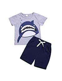 Baby Boys' Short Set Summer Outfit Cotton 2 Pieces Pant Set Short Sleeve Clothing Sets Dinosaur Pajamas Outfits