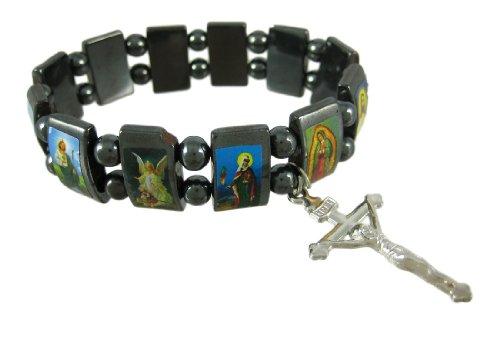 Scene Ceramic - Zeckos Ceramic Stretch Bracelets Hematite Stretch Bracelet W/Religious Scenes Catholic Multicolored