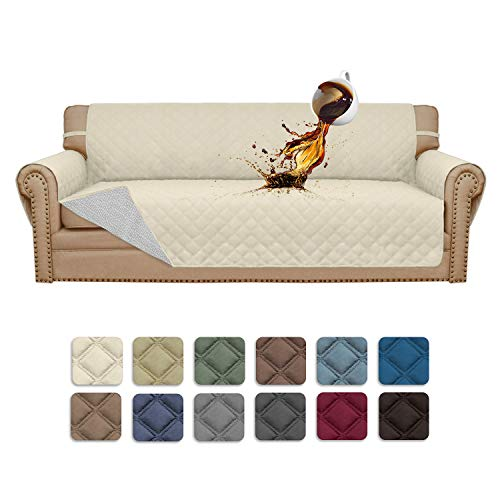 Easy-Going Sofa Slipcover Sofa Cover Waterproof Couch Cover Furniture Protector Cover Pets Covers Seamless Whole Piece Non-Slip Fabric Pets Kids Children Dog Cat (Sofa, Ivory)