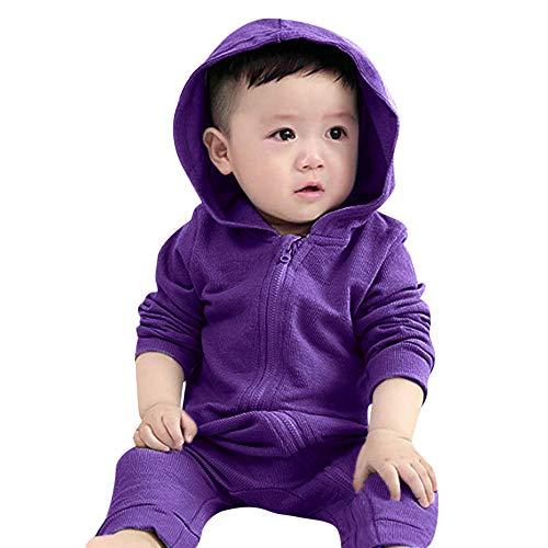 XoiuSyi,Infant Toddler Girls Boys Dinosaur Baby Hoodie Romper Zip Clothes Jumpsuit ()