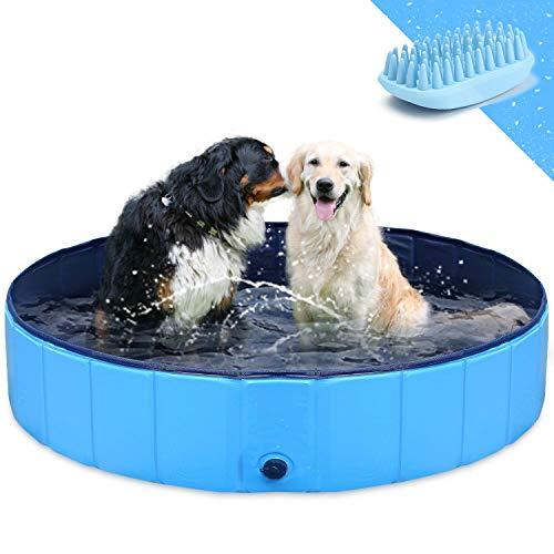 🥇 GoStock Piscina para Perros Plegable Mascota Piscina portátil Bañera para niños Gran Mascota Perro Gato PVC Antideslizante para Interiores/Exteriores