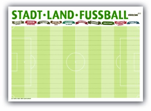 Sticky Jam Tischsets Stadt Land Fußball