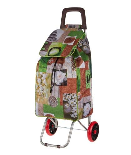 2 Wheel Strong Shopping Trolley Festival Essential Folding Durable Wheeled Bag (Black Butterfly) CHINA