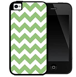 Green and White Chevron Pattern (iPhone 5/5s) 2-piece Dual Layer High Impact Black Silicone Cover Case