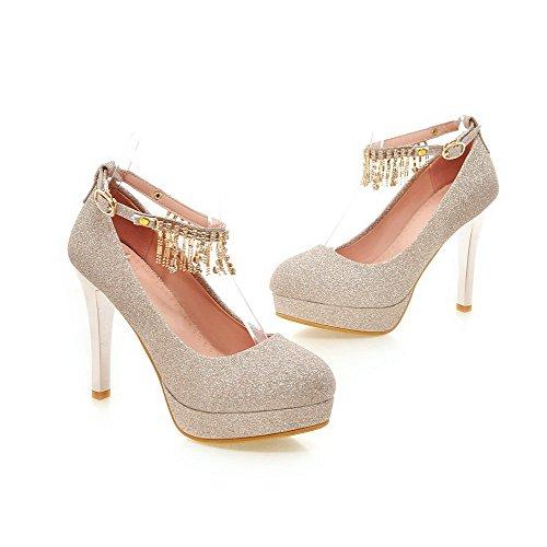 VogueZone009 Damen Hoher Absatz Rein Schnalle Weiches Material Rund Zehe Pumps Schuhe Golden