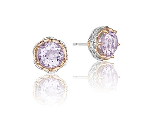 Tacori SE105P13 18K Rose Gold and Sterling Silver With Rose Gold Lilac Blossom Crescent Crown Stud Earrings