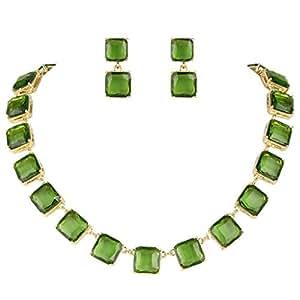 EVER FAITH Gold-Tone Rhinestone Necklace Earrings Set Green