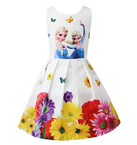 Butterfly Princess Flower Girl Dresses - Crazy Gotend Girls Anna Casual Dresses Flower Princess Dresses White 3-4Y