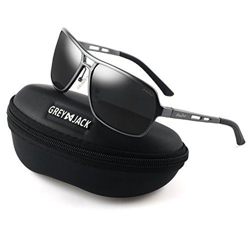 GREY JACK Polarized Sports Sunglasses Rectangular Al-Mg Alloy Frame Rimmed for Men Women Grey Frame Black ()