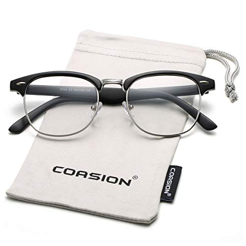 COASION Vintage Semi-Rimless Clear Glasses Fake Nerd Horn Rimmed Eyeglasses Frame (Matte Black/Silver ()