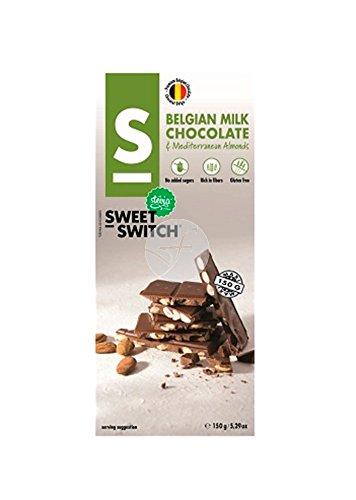CHOCOLATE CON LECHE BELGA CON ALMENDRAS CON STEVIA SIN GLUTEN SWEET SWITCH 150 GRS: Amazon.es: Alimentación y bebidas