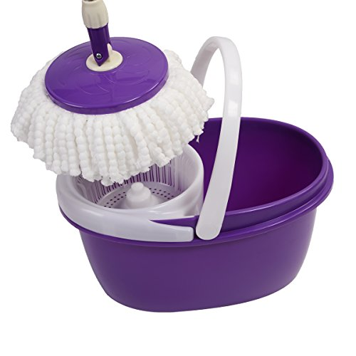 Easy Magic Floor Mop 360° Bucket 2 Heads Microfiber Spin Spinning Rotating Head (Purple) by Sustainables (Image #5)