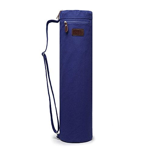 Fremous Yoga Mat Bag and Carriers for Women and Men – Double Storage Pocket – Easy Access Zipper – Adjustable Shoulder Strap and Handle (Dark Blue)