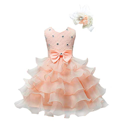 Bow Dream Girl Dress Kids Lace Party Wedding Flower Girl Dress Headband