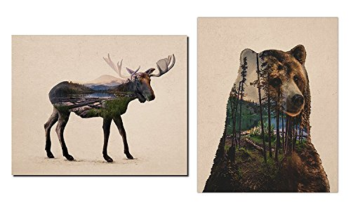 Rustic Double Exposure Bull Moose and Bear Landscape Set; Cabin Lodge Decor; One 11x14in and One 14x11in Unframed Poster Print