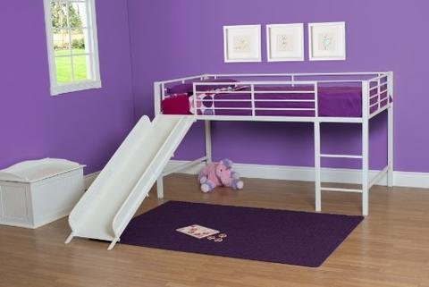 Kids Furniture Loft Beds - DHP Junior Twin Metal Loft Bed with Slide, Multifunctional Design, White with White Slide