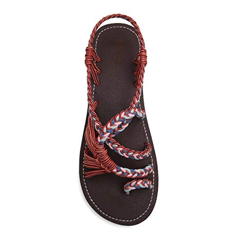 EAST LANDER Flat Sandals for Women Braided Strap Beach Shoes ZD002-W8-8 Brown