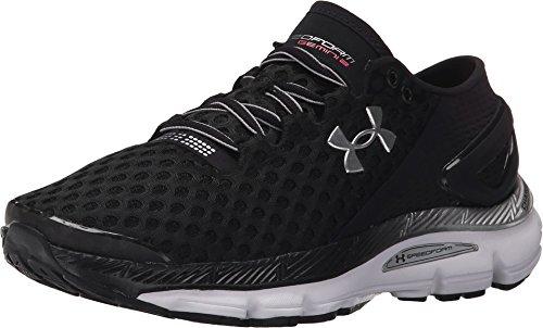 Running Motion Control Shoes Women (Under Armour Speedform Gemini 2 Womens Running/Training Shoe Black/White/Metallic Silver 9 B(M) US)