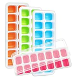 Kootek 4 Pack Silicone Ice Cube Trays with Lid - BPA Free 4 Color Ice Cube Molds Easy Release Flexible Trays for Chill Drinks Whiskey Cocktail