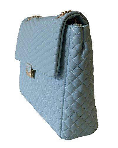 Valentino by Mario Valentino Tasche Ritas VBS1R301STD Cielo Damen Schultertasche Umhängetasche Handtasche Hellblau (36 cm x 28 cm x 8 cm)