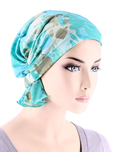 Abbey Cap Womens Chemo Hat Beanie Scarf Turban Headwear For Cancer Blended Knit Green Blue Water Floral (Hat Knit Wear)