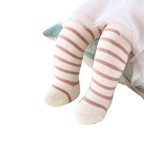 Voberry 1 Pair Cotton Knee High Socks Striped Bootie Socks Warm Stockings for Toddler Newborn Baby (S, Beige)