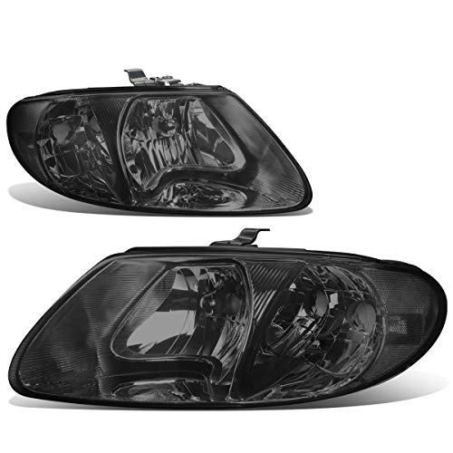 Pair Smoked Housing Clear Side Headlight Lamps for Chrysler Town&Country/Dodge Grand Caravan 01-07