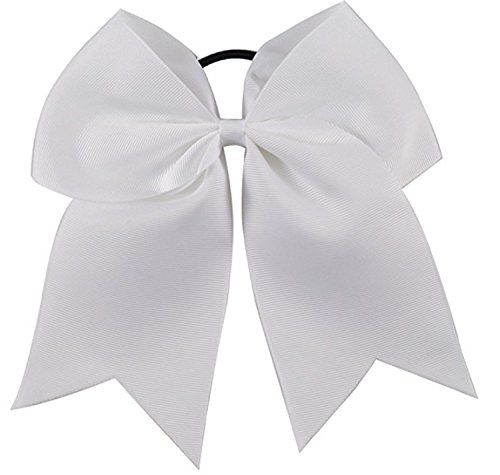 Kenz Laurenz Cheer Bows White Cheerleading Softball - Gifts for Girls and Women Team Bow with Ponytail Holder Complete Your Cheerleader Outfit Uniform Strong Hair Ties Bands Elastics (1)