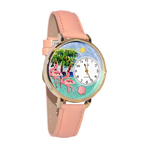 Flamingo Bird Watch - Whimsical Watches Women's G0150001 Flamingo Pink Leather Watch