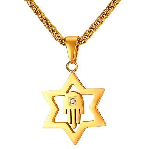 Star Of David Yellow Necklace - U7 Women Men Lucky Necklace 18K Gold Plated Jewish Jewelry Hamsa Hand & Star of David Pendant