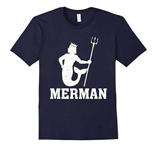 Mermaid Merman Costume (Mens Funny Merman Mermaid Costume T-Shirt Medium Navy)