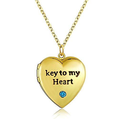 Love Heart Pink Enamel Locket Necklace Pendant Memories Photo Birthstone Locket Necklaces Platinum Plated (Gold blue CZ locket) (Plated Pink Heart)