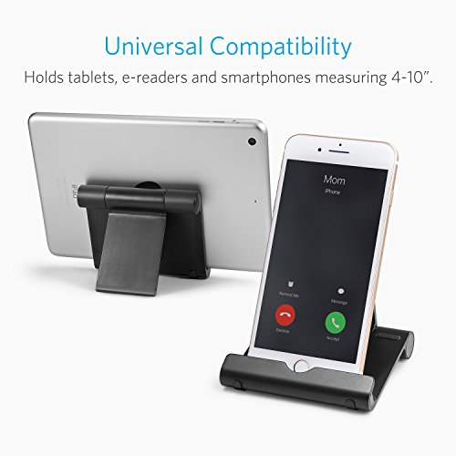 Anker Portable Multi-Angle Stand for Tablets, e-readers and Smartphones, Compatible with iPhone X/8/8 Plus/7/7 Plus, Samsung Galaxy S8/S7/Note 8, iPad Pro 9.7/10.5, Air, mini, Pixel 2 and More (Black) by Anker (Image #3)