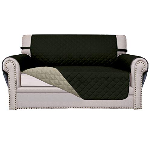 Easy-Going Sofa Slipcover Reversible Sofa Cover Furniture Protector Anti-Slip Foams Couch Shield Water Resistant Elastic Straps PetsKidsChildrenDogCat(Loveseat,Army Green/Beige)